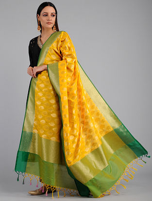 Yellow-Green Benarasi Art Silk Dupatta