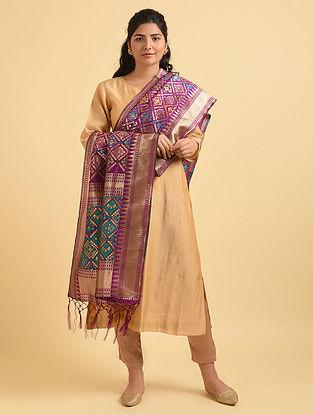 Purple Handwoven Benarasi Silk Dupatta