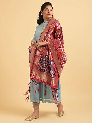 Red-Blue Handwoven Benarasi Silk Dupatta