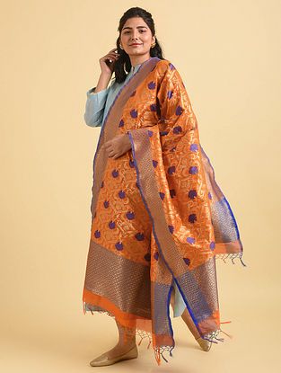 Orange-Blue Handwoven Benarasi Silk Dupatta