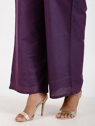 Purple Art Silk Palazzos with Zari Stitch