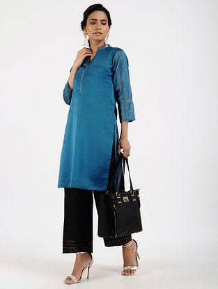 Blue Chanderi-Silk Kurta with Zari Stitch