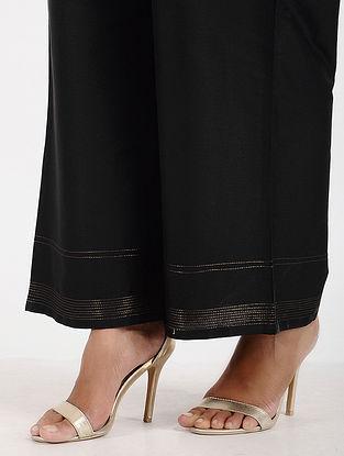 Black Art Silk Palazzos with Zari Stitch
