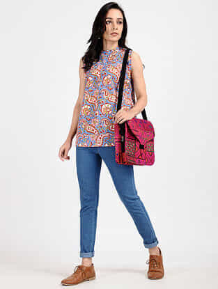 Red-Blue Block-Printed Cotton Top