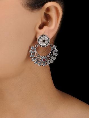 Red-Pink Silver Tone Brass Earrings