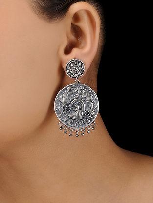 Blue Silver Tone Brass Earrings
