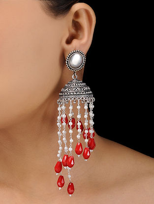 Red-White Silver Tone Brass Jhumkas