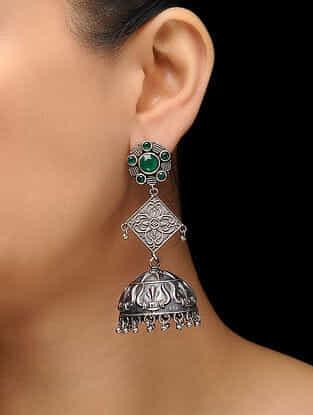 Green Silver Tone Brass Jhumkas