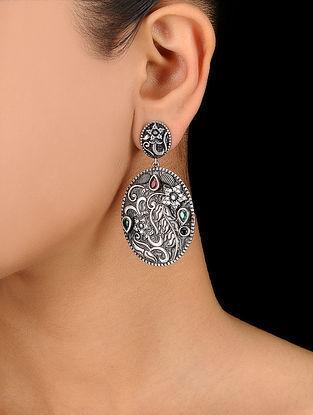 Green-Red Silver Tone Brass Earrings