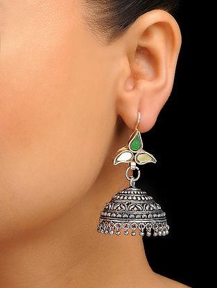 Green Silver Tone Jhumka