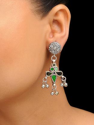 Green-Black Silver Tone Earrings