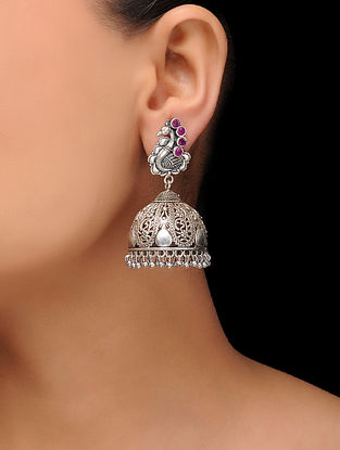 Pink Silver Tone Brass Jhumkis