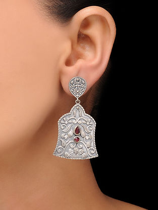 Red Silver Tone Brass Earrings