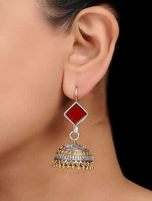 Red Dual Tone Handcrafted Jhumkis