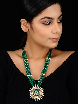Green Dual Tone Beaded Brass Necklace