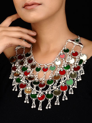 Red-Green Silver Tone Necklace with Ghungroo