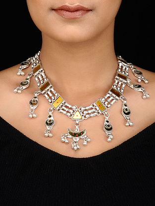 Yellow Silver Tone Necklace with Ghungroo
