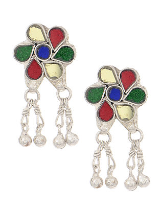 Multicolored Silver Tone Stud Earrings with Ghungroo