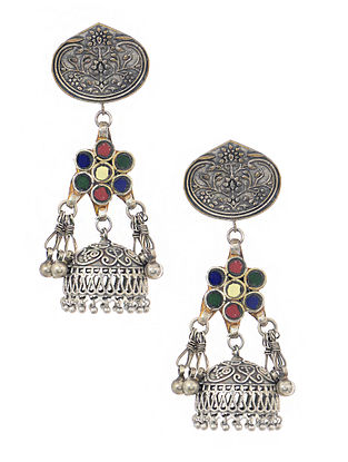 Multicolored Silver Tone Jhumkis with Ghungroo