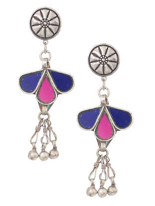 Blue-Pink Silver Tone Earrings