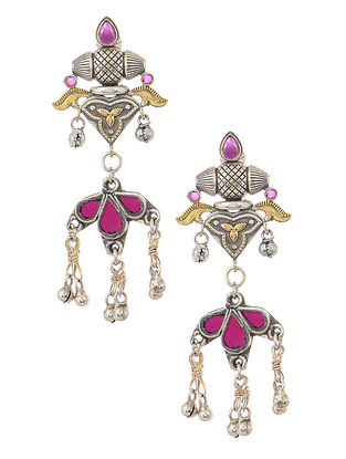 Pink Dual Tone Earrings with Ghungroo