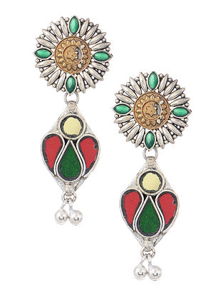 Red-Green Silver Tone Earrings with Ghungroo