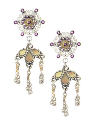 Pink Silver Tone Earrings with Ghungroo