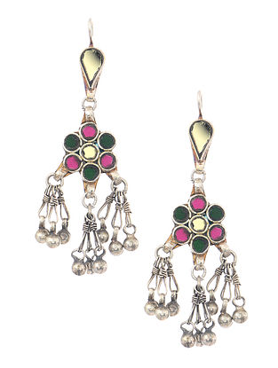 Pink-Green Silver Tone Earrings with Ghungroo
