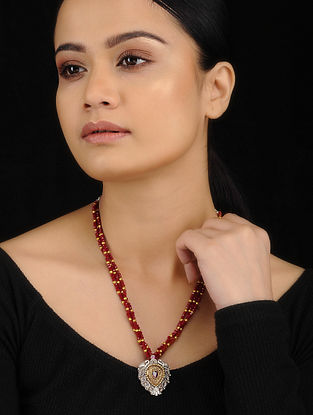 Red-Gold Dual Tone Brass Necklace