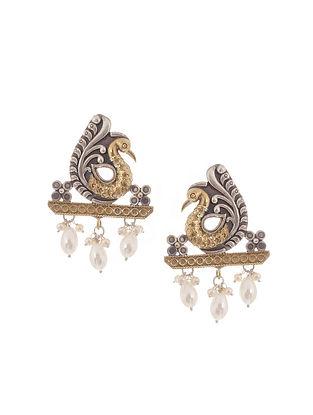 Dual Tone Brass Stud Earrings