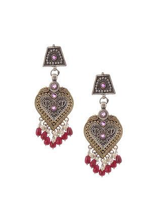 Red Dual Tone Brass Earrings