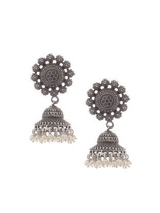 Silver Tone Brass Jhumkis