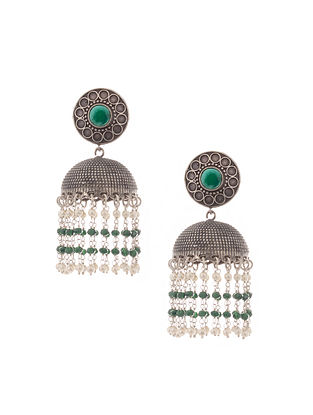 Green Silver Tone Brass Jhumkis