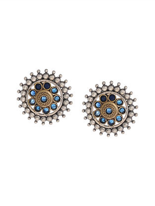 Blue Dual Tone Handcrafted Brass Stud Earrings
