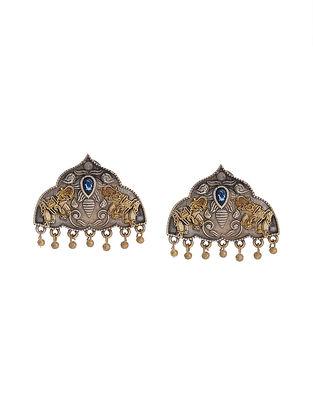 Blue Dual Tone Handcrafted Brass Stud Earrings
