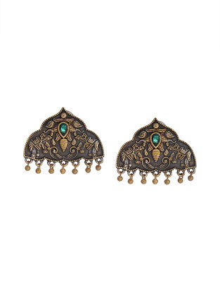 Green Dual Tone Handcrafted Brass Stud Earrings