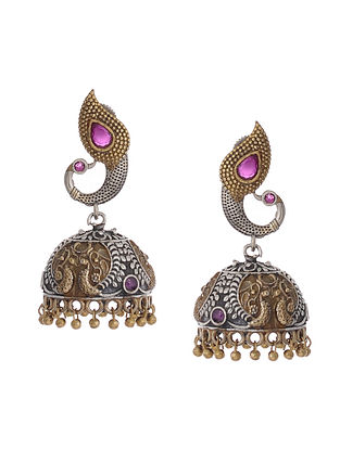 Pink Dual Tone Handcrafted Brass Jhumkis