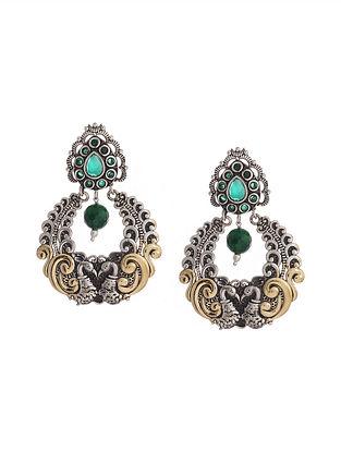 Green Dual Tone Handcrafted Brass Earrings