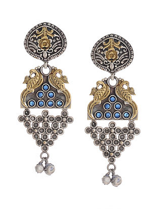 Blue Dual Tone Handcrafted Brass Earrings with Ghungroo