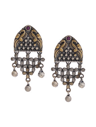 Pink Dual Tone Handcrafted Brass Earrings with Ghungroo