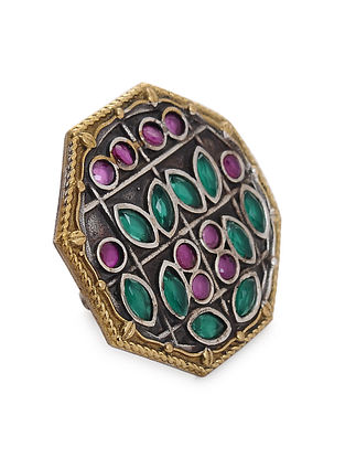 Pink-Green Dual Tone Handcrafted Adjustable Brass Ring