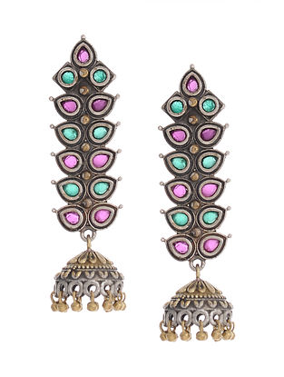 Pink-Green Dual Tone Handcrafted Brass Earrings