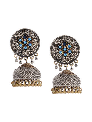 Blue Dual Tone Handcrafted Brass Jhumkis