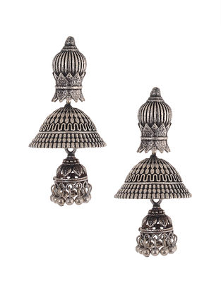 Tribal Silver Tone Brass Jhumki Earrings