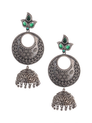 Green Tribal Silver Tone Brass Jhumki Earrings