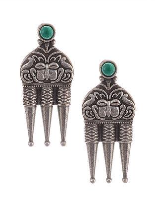 Green Tribal Silver Tone Brass Earrings