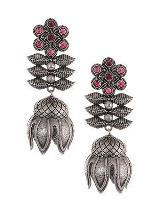 Pink Tribal Silver Tone Brass Jhumki Earrings