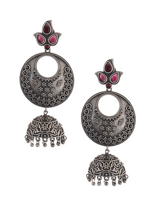 Pink Tribal Silver Tone Brass Jhumki Earrings