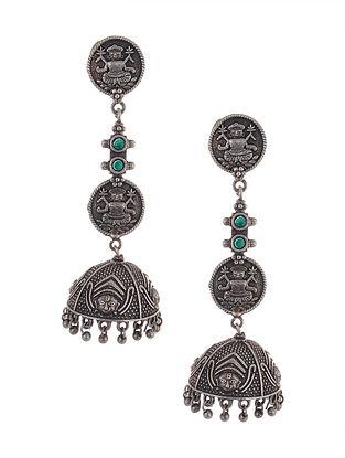 Green Tribal Silver Tone Brass Jhumki Earrings