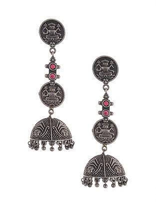 Maroon Tribal Silver Tone Brass Jhumki Earrings